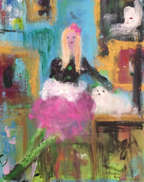 "Franco Mondini-Ruiz, ""Girl with an Artistic Background"", Acrylic on canvas, 8 x 9 inches"